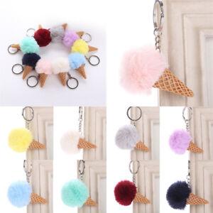 Ice-Cream-Fur-Ball-Pompom-Cell-Phone-Car-Bag-Pendant-Key-Rings-Jewelry-Keychain