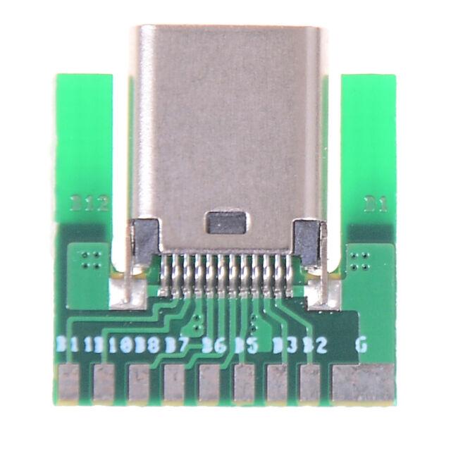 DIY 24pin usb 3.1 type c female plug socket connector smt type with pc boardHGU