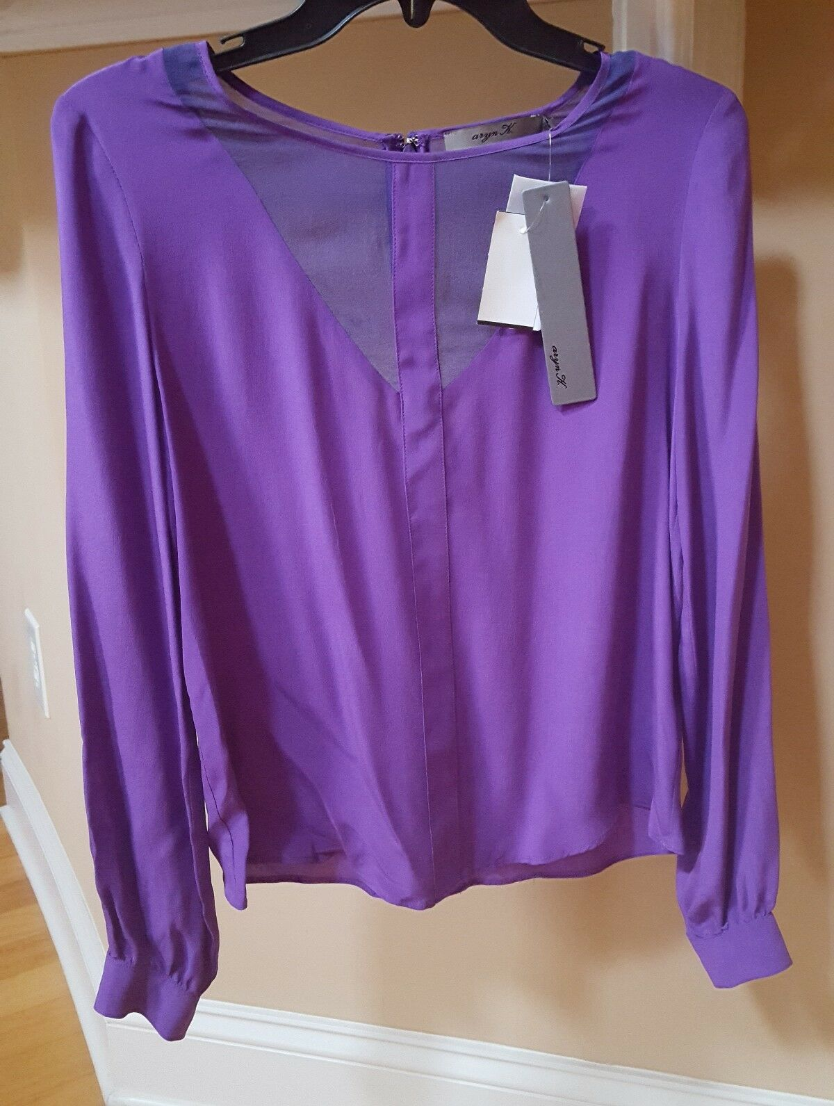 NWT Aryn K Ladies XS Purple Silk Sheer Long Sleeve Top Dress or Party Blouse
