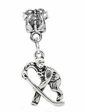 Hockey Player NHL Team Ice Sports Dangle Charm for Silver European Bead Bracelet