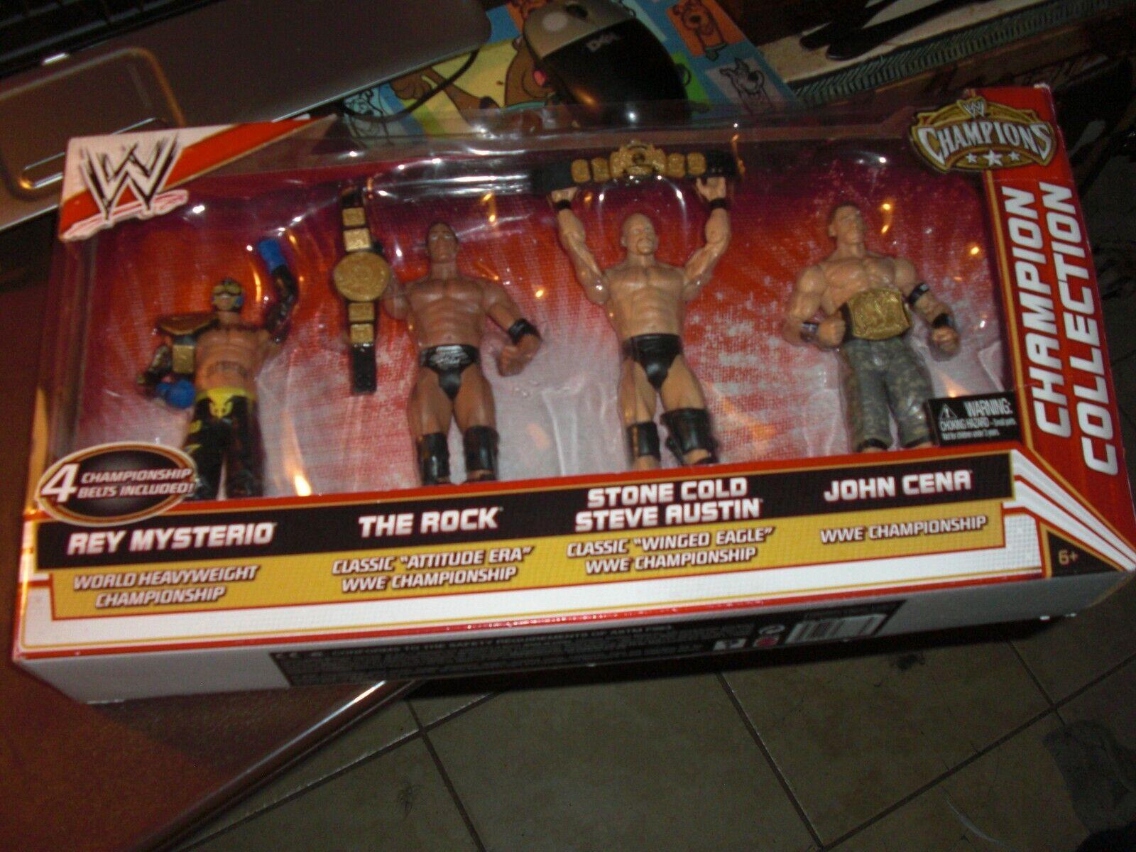 Colección campeón Wwe La Roca, piedra fría, Rey Mysterio, John Cena Nuevo Sellado