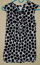 NWT MERONA Women's sleeveless bow blouse/shell--White w/black polka dots--XS