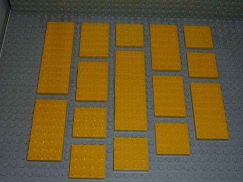 15 x LEGO Lot de plaques Yellow plates 4x4//4x6//4x8//4x12 Réf.3031//3032//3035//3029