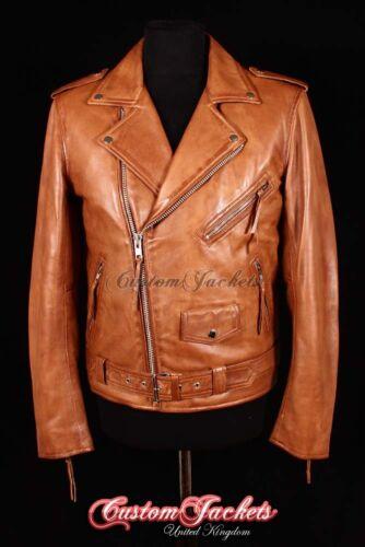 agnello montata fit in pelle Tan Brando pelle in uomo Giacca motociclista slim di motociclista da di da da RzYvwq7