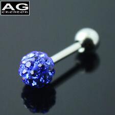 A single medium blue cubic snow ball barbell earring stud piercing 18g US SELLER