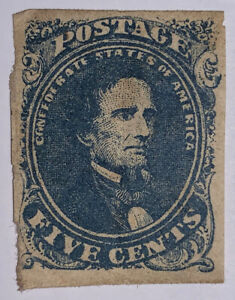 Travelstamps: US Confederate States CSA Stamps Scott # 4 Mint Og 5 cents