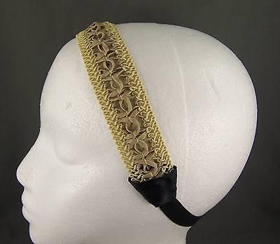 "Tan beige faux leather 1.25"" wide stretch elastic headband kids girls childrens"