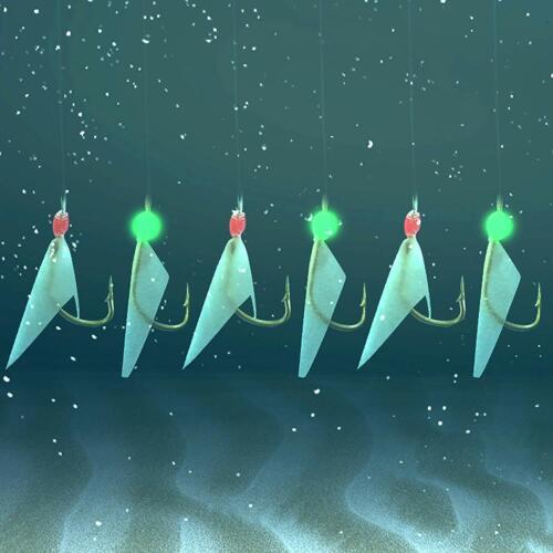 Fishing Rigs Fish Skin Sabiki Rig Luminous Bead Swivels Saltwater 6 Hooks 4#6#8#