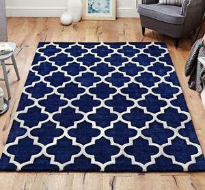 Moroccan Tile Rugs In Blue Cream Modern Handmade Wool Runners