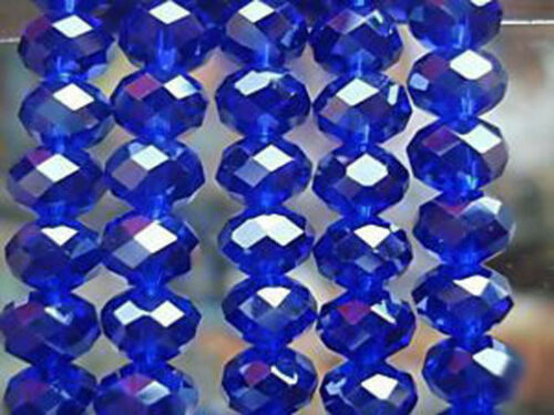 94-100 PCS 4 X 6 mm Faceted Dark Blue Crystal Gemstone Abacus Loose Beads