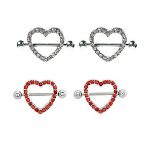 Sold in Pairs Nipple Shield 14G Red CZ Gem Paved Heart-Shaped with Barbell