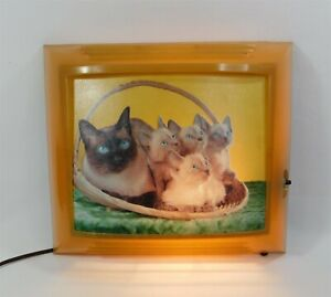 Vintage 1950s Helmscene Light Up Picture Celluloid 132 Bright Eyes Siamese Cats