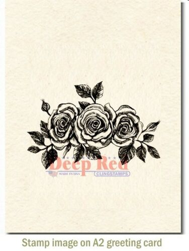 Deep Red Stamps Rose Border Rubber Cling Stamp