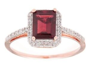 10k Rose Gold Emerald-Cut 2.20ct Green Amethyst and Pave Diamond Ring