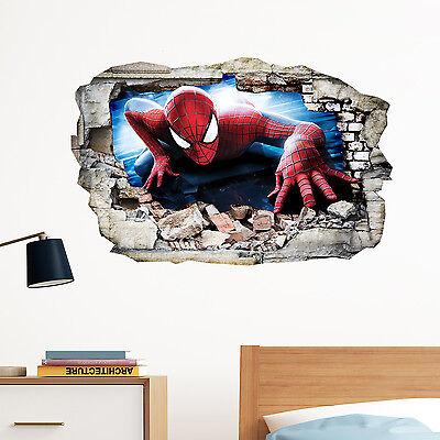 Spiderman in Wall Crack SuperHeroes Kids Boy Bedroom Decal Art Sticker Gift New