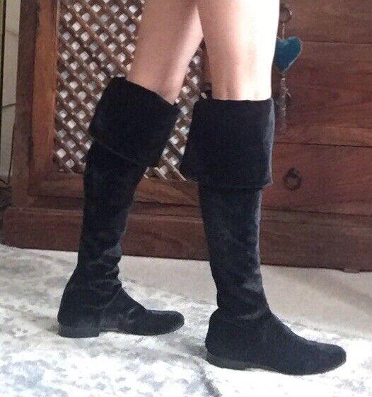 Alberta Ferretti boots, cuissardes longue en velours noir Bottes en Cuir UK 3,EU 36