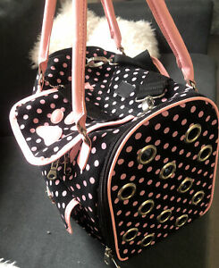 Zack And Zoey Pet Carrier Bag Pink Polka Dot