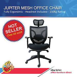 Mesh Office Chair Executive Computer Gaming Chairs Arms Headrest Lumbar Support Ebay