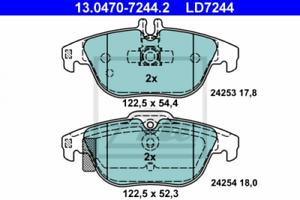 Scheibenbremse Hinterachse ATE 13.0470-7244.2 Ceramic Bremsbelagsatz