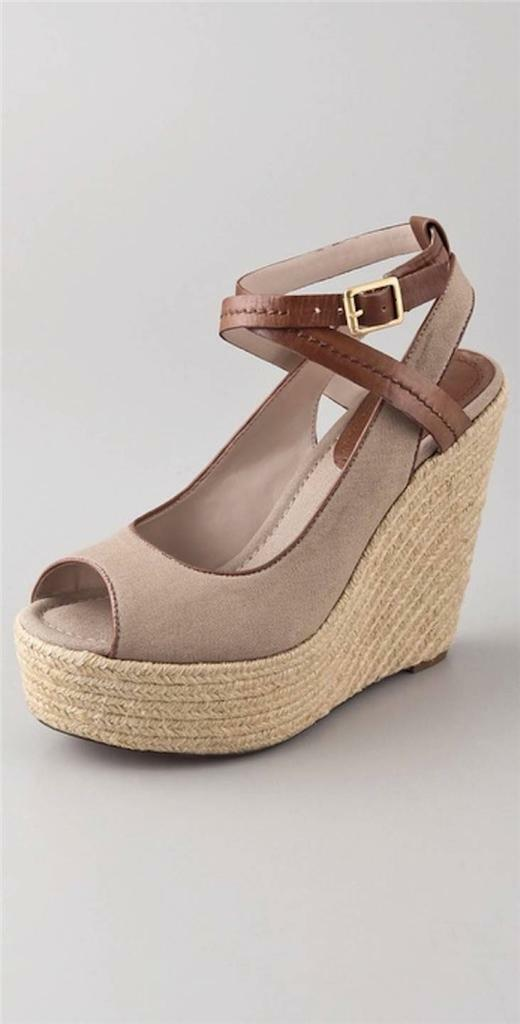 pinkgold Leo Wedge Espadrilles Taupe Brown Peep toe Sandal Ankle strap Canvas