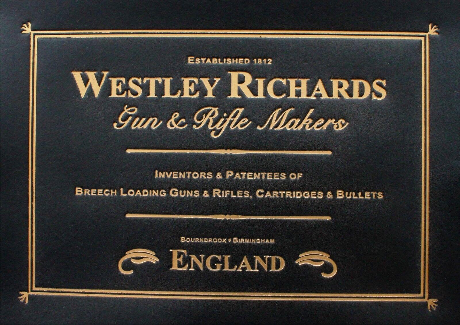Etiqueta De Cuero Negro WESTLEY RICHARDS para rifle escopeta & Estuche Para Purdey Boss