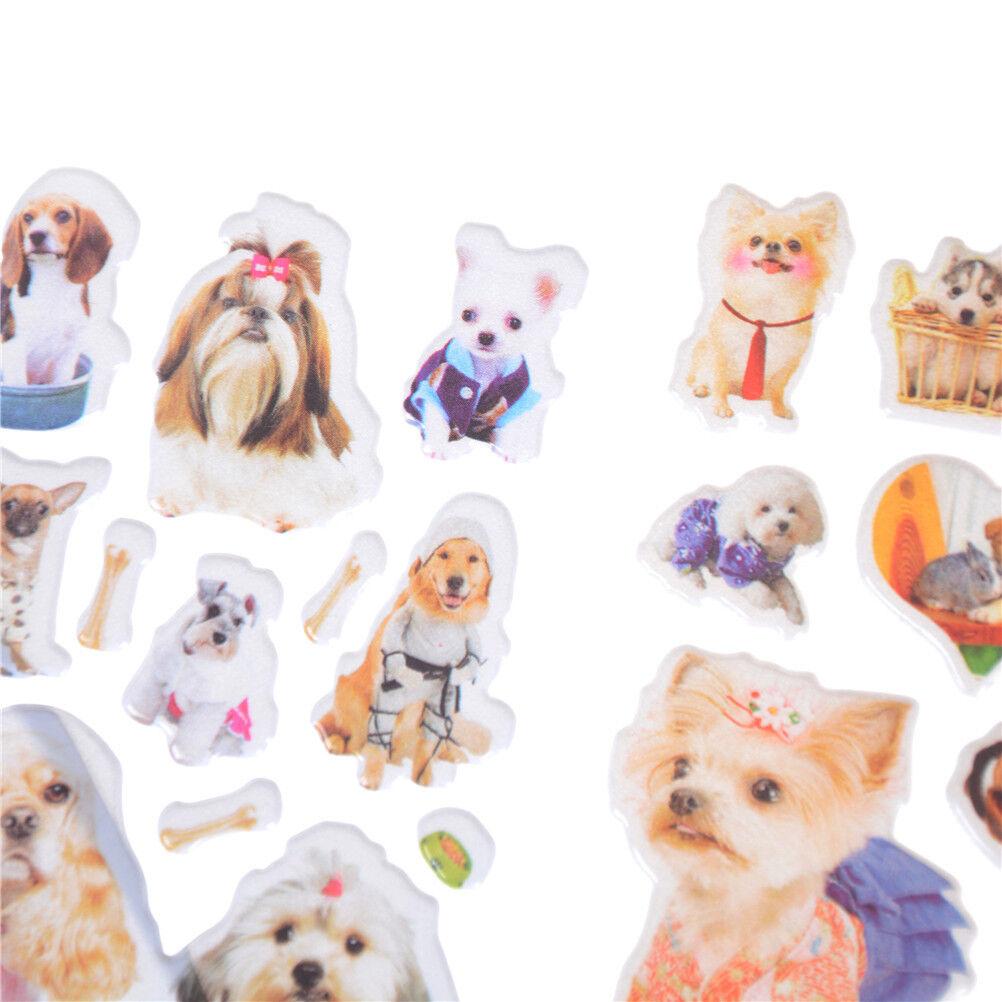 3Sheets Kawaii Dogs Animals Scrapbooking Bubble Puffy Stickers Reward Kids NICA
