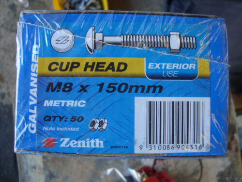Cup Head Bolts BOX OF 50FIFTY M8 8mm x150mm Galvanised Bolt & Nut FREE POST