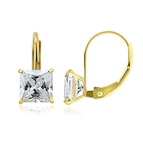 14K Or Jaune 2.60 cttw zircone cubique carré Leverback Earring 6 mm