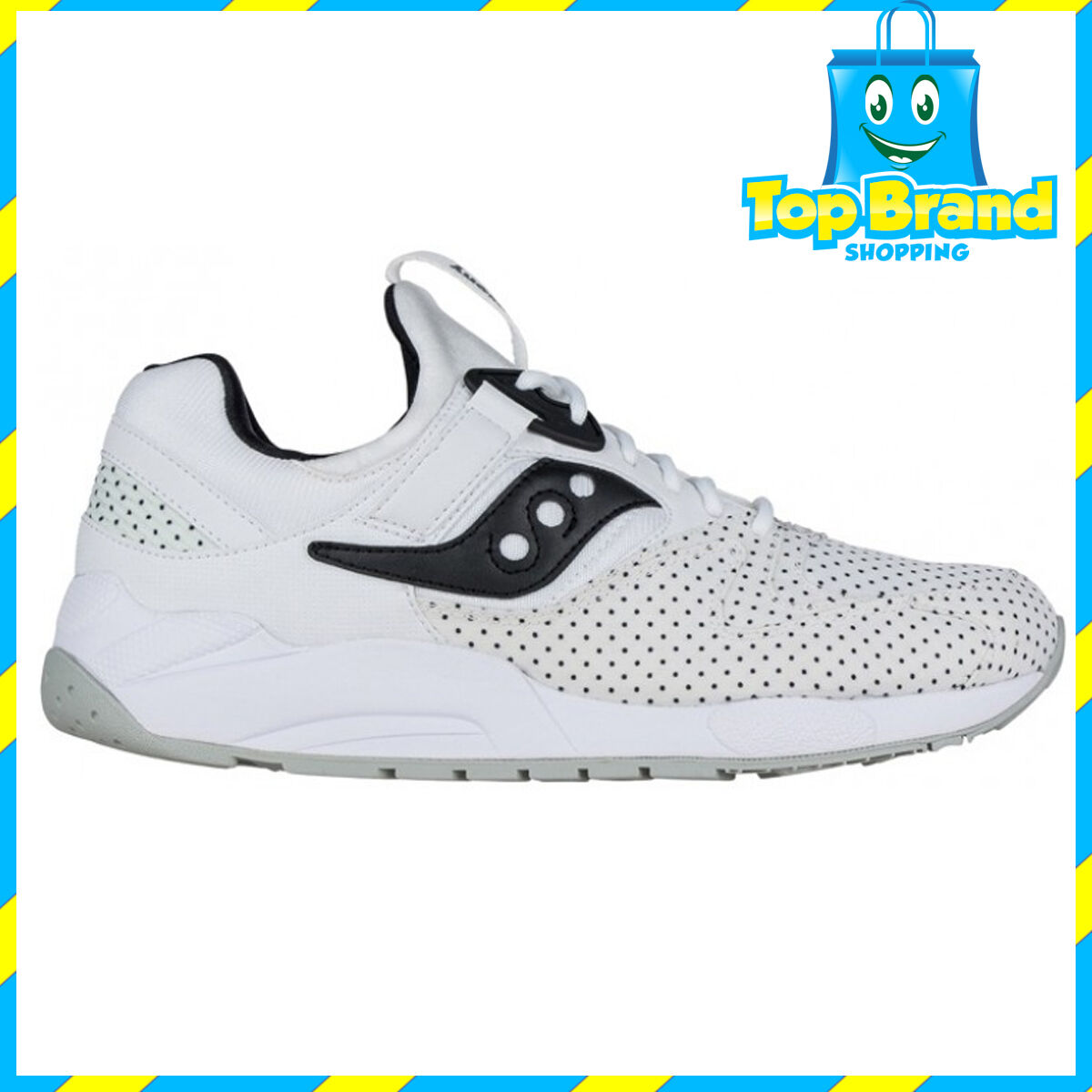 Saucony Mens Originals Classsc Grid 9000 White Polka Dots S702562 CLASSIC SHOES