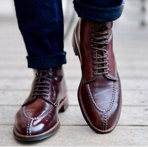 Handmade-Hommes-Split-Tie-Bottines-nouveau-tous-cuir-veritable-homme-Richelieu-a-Bottes