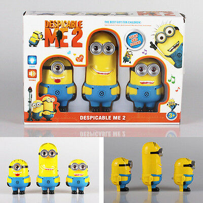 3pcs Despicable Me 2 Minions Doll Set with Sound & Light Kids Children Toy Gift