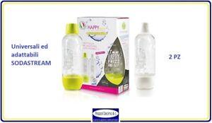 Set 2 Bottiglie Gasatore Acqua Frizzante Universale SodaStream Happy Frizz 1 Lt