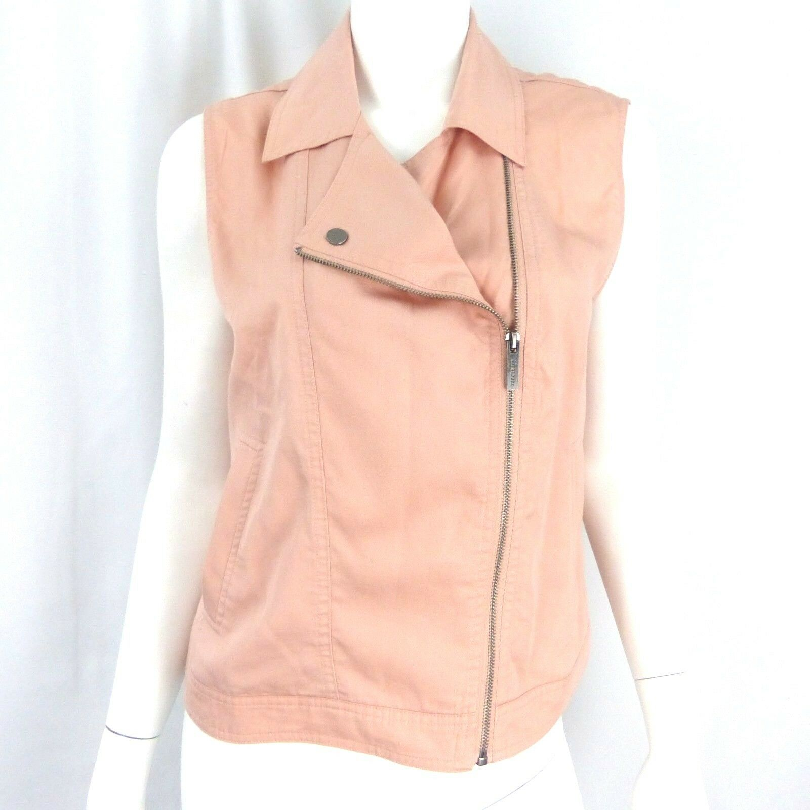 Sanctuary Women's Tencel Moto Vest bluesh Pink Size M NWT  Zipper Collar
