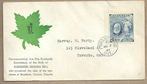 CANADA ALEX GRAHAM BELL FIRST DAY COVER SCOTT 274 USED (BS20054)