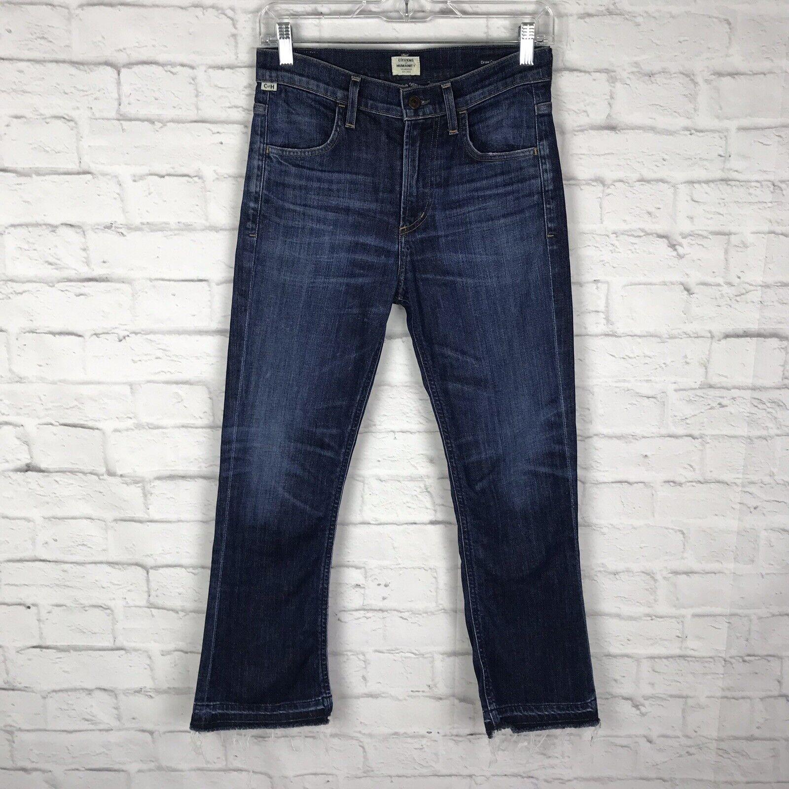 Citizens Of Humanity Womens bluee Denim Sz 24 Drew Capri Medium Wash Fringe Jeans