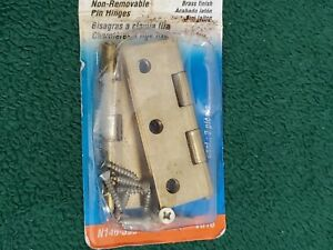 Brass-Finish-Door-Hinge-3-034-Pins-Non-Removable-Cabinet-Stanley-National-Hardware