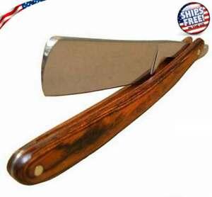 Straight-Edge-Steel-Razor-Folding-Shaving-Wood-Handle-Knife-Barber-Beard-NEW