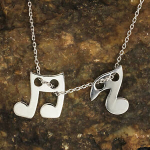 Details zu 925 Sterling Silber hochwertige Musik Note Schmuck Kettenanhänger und Halskette