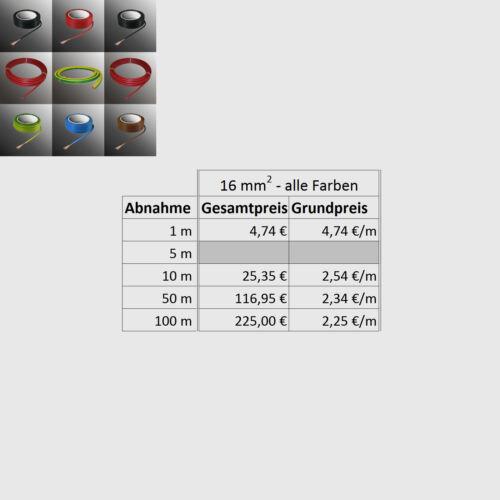 Batteriekabel 16mm² Schaltlitze H07V-K PVC Kabel Litze Einzelader flexibel 16mm²