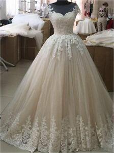 Rustic-Vintage-Bridal-Wedding-Dress-with-Cap-Sleeves-Custom-Size-4-6-8-10-12-14