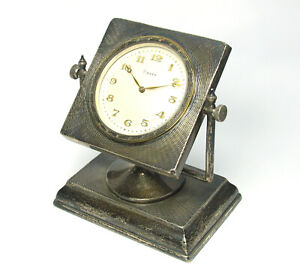 Vintage-Silver-8-Days-Tischuhr-Desk-Watch-aus-Silber-Kaminuhr-Table-watch