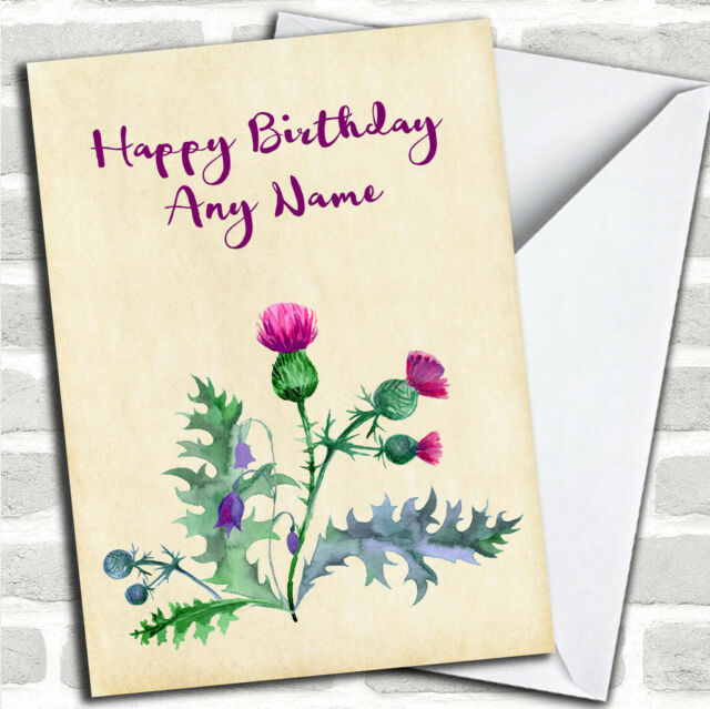 Watercolour Scottish Thistle Customised Birthday Greetings Card