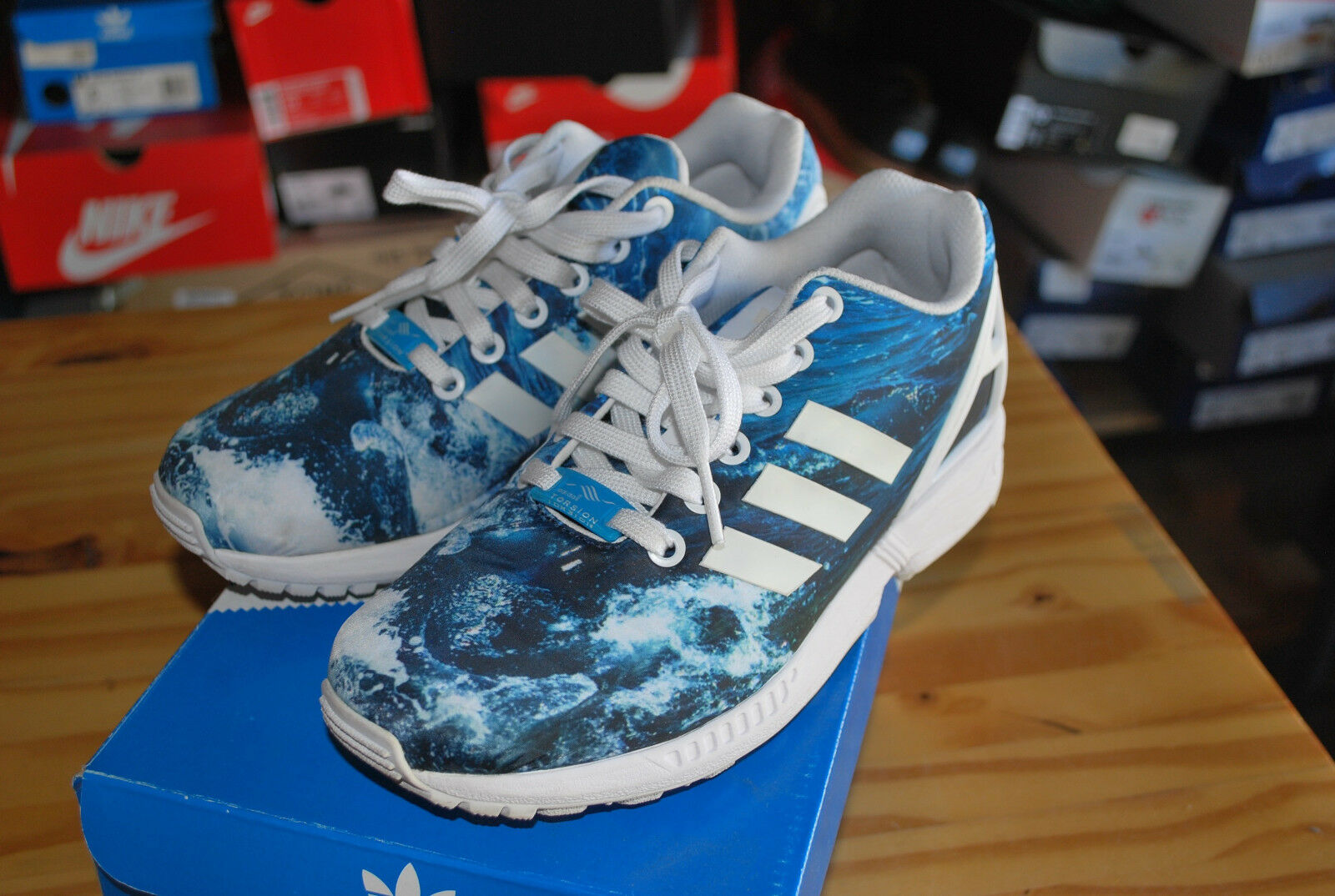 USED ADIDAS ZX FLUX - WHITE/BLUE - PHOTO PRINT - M19846 4.5 MENS The most popular shoes for men and women