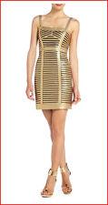 BCBG MAXAZRIA BERET GOLD PANEL BANDAGE ADJ. STRAP DRESS 2P NWT $388-RackE/82