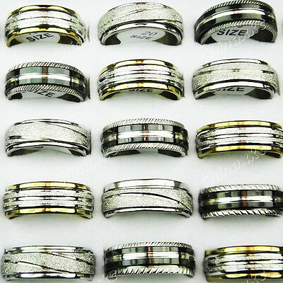 10pcs wholesale jewelry lot 316L stainless steel Double mix rings free shipping