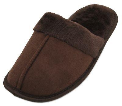 Señoras Zapatillas de imitación de gamuza mula slumberzzz