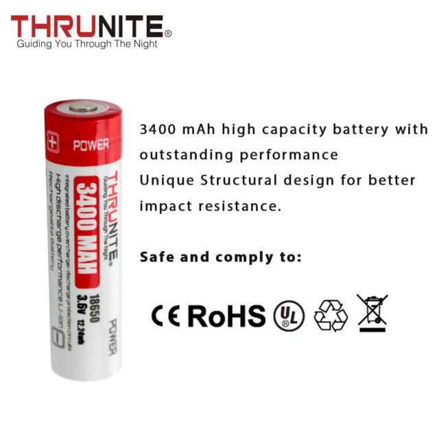 Rechargeable Batteries Ebay >> ThruNite T3400 18650 3400mah 3.6v Li on Rechargeable Batteries 2 Count | eBay