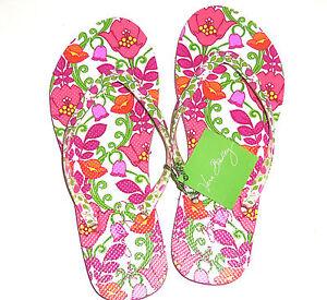 927a56cafab7 Vera Bradley Flip Flops Pink Swirls LIlli Bell Pink Green Orange New ...