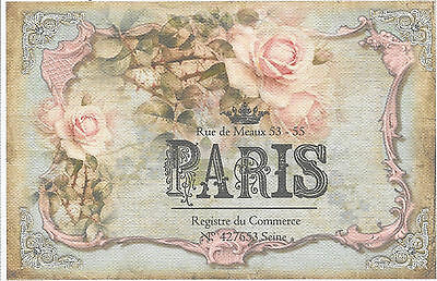 PARIS  PINK ROSES COLLAGE*ONE 5X7*QUILT ART FABRIC BLOCK*WHIMSYDUST