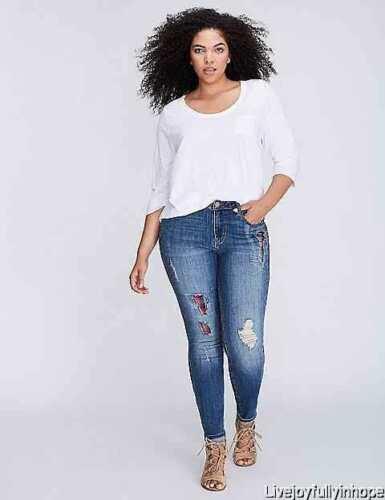 LANE BRYANT ~ NWT 18 20 22 or 26 24 ~ DISTRESSED PLAID SKINNY Jeans 2X 3X 4X